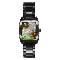 Koi Fish Pond Stainless Steel Barrel Watch
