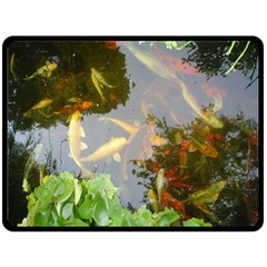 Koi Fish Pond Double Sided Fleece Blanket (large)