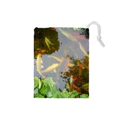 Koi Fish Pond Drawstring Pouch (small)