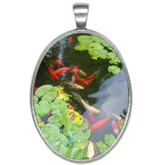 Koi Fish Pond Oval Necklace by StarvingArtisan