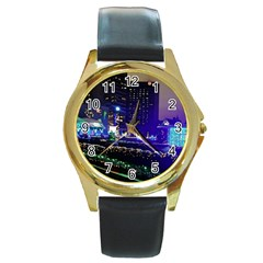 Columbus Commons Round Gold Metal Watch