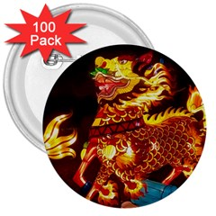 Dragon Lights 3  Buttons (100 Pack)