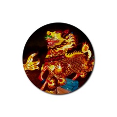 Dragon Lights Rubber Round Coaster (4 Pack)