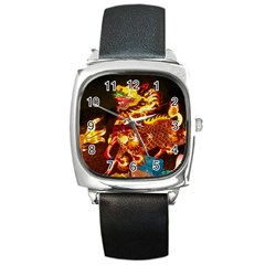 Dragon Lights Square Metal Watch
