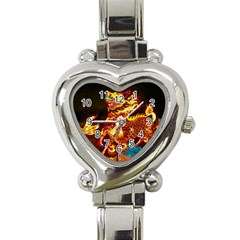 Dragon Lights Heart Italian Charm Watch