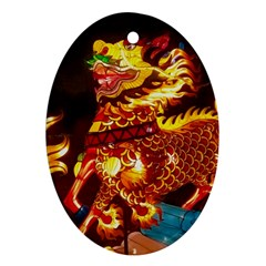 Dragon Lights Oval Ornament (two Sides)