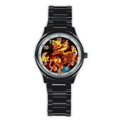 Dragon Lights Stainless Steel Round Watch