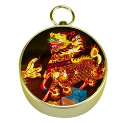 Dragon Lights Gold Compasses by Riverwoman