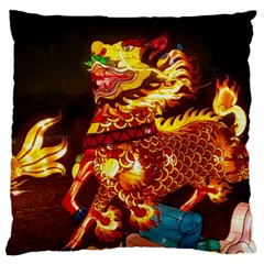 Dragon Lights Large Flano Cushion Case (two Sides)