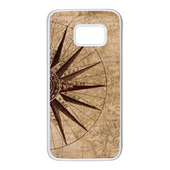 Vintage Compass Samsung Galaxy S7 White Seamless Case by WensdaiAddamns