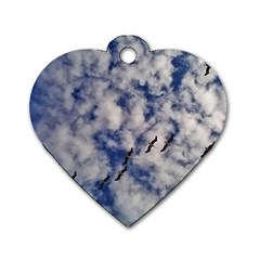 Pelicans In Flight Dog Tag Heart (one Side)