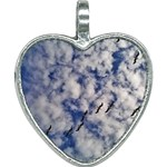 Pelicans In Flight Heart Necklace Front
