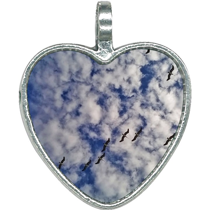 Pelicans In Flight Heart Necklace