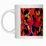 Red Floral Collage Print Design 2 White Mugs Left