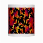 Red Floral Collage Print Design 2 White Mugs Center
