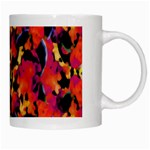 Red Floral Collage Print Design 2 White Mugs Right
