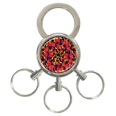 Red Floral Collage Print Design 2 3 Ring Key Chains