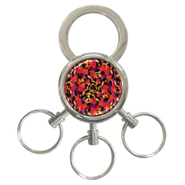 Red Floral Collage Print Design 2 3-Ring Key Chains