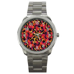 Red Floral Collage Print Design 2 Sport Metal Watch by dflcprintsclothing