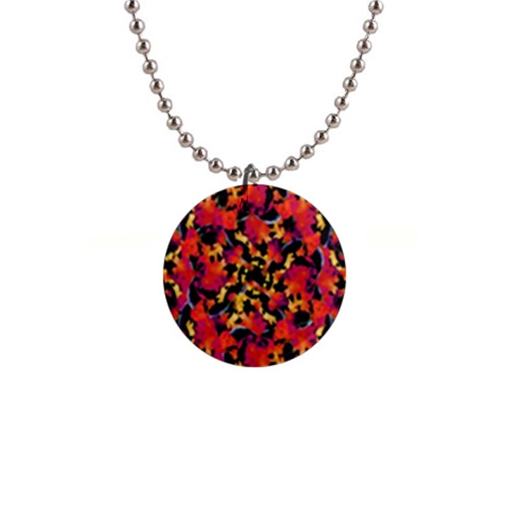 Red Floral Collage Print Design 2 1  Button Necklace