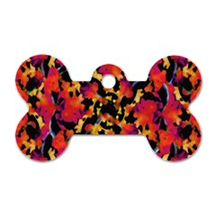 Red Floral Collage Print Design 2 Dog Tag Bone (one Side) by dflcprintsclothing