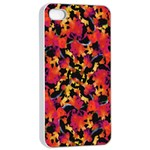 Red Floral Collage Print Design 2 Apple iPhone 4/4s Seamless Case (White) Front