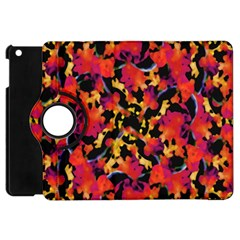 Red Floral Collage Print Design 2 Apple Ipad Mini Flip 360 Case by dflcprintsclothing