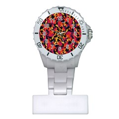 Red Floral Collage Print Design 2 Plastic Nurses Watch