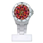 Red Floral Collage Print Design 2 Plastic Nurses Watch Front