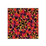 Red Floral Collage Print Design 2 Satin Bandana Scarf Front