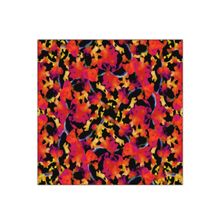 Red Floral Collage Print Design 2 Satin Bandana Scarf