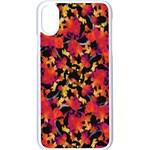Red Floral Collage Print Design 2 Apple iPhone X Seamless Case (White) Front