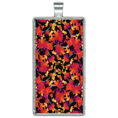 Red Floral Collage Print Design 2 Rectangle Necklace