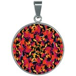 Red Floral Collage Print Design 2 30mm Round Necklace Front