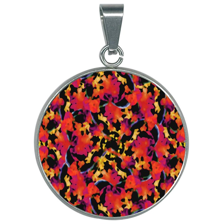 Red Floral Collage Print Design 2 30mm Round Necklace