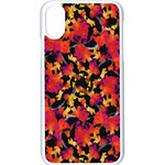 Red Floral Collage Print Design 2 Apple iPhone XS Seamless Case (White) Front