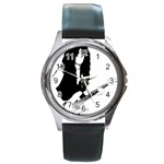 J.E.L. Round Metal Watch Front