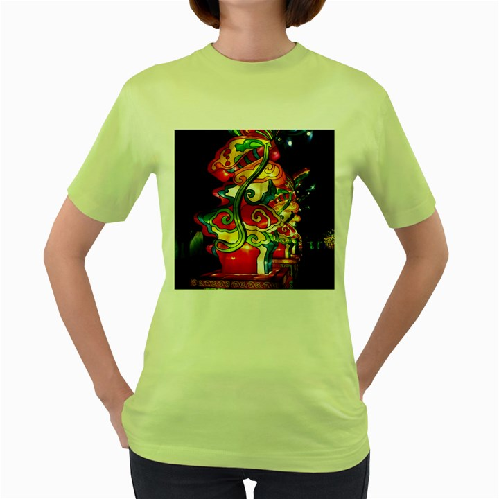 Dragon Lights Centerpiece Women s Green T-Shirt