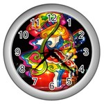 Dragon Lights Centerpiece Wall Clock (Silver) Front