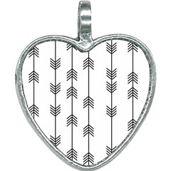 Black And White Abstract Pattern Heart Necklace by Valentinaart