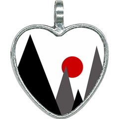 Geometric Landscape Heart Necklace by Valentinaart