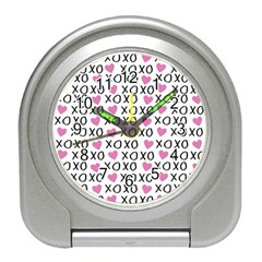 Xo Valentines Day Pattern Travel Alarm Clock by Valentinaart