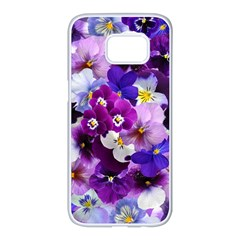 Pretty Purple Pansies Samsung Galaxy S7 Edge White Seamless Case by retrotoomoderndesigns