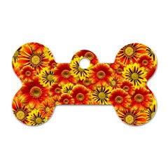 Brilliant Orange And Yellow Daisies Dog Tag Bone (two Sides) by retrotoomoderndesigns