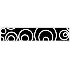 Abstract White On Black Circles Design Large Flano Scarf  by LoolyElzayat