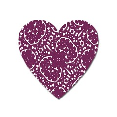 Magenta And White Abstract Print Pattern Heart Magnet by dflcprintsclothing