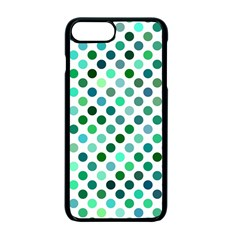 Shades Of Green Polka Dots Apple Iphone 7 Plus Seamless Case (black) by retrotoomoderndesigns
