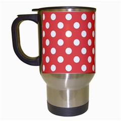 Red White Polka Dots Travel Mugs (white) by retrotoomoderndesigns