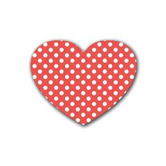 Red White Polka Dots Rubber Coaster (heart)  by retrotoomoderndesigns