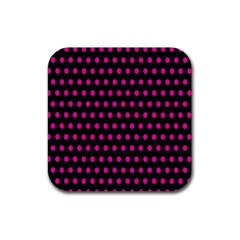 Pink Black Polka Dots Rubber Coaster (square)  by retrotoomoderndesigns